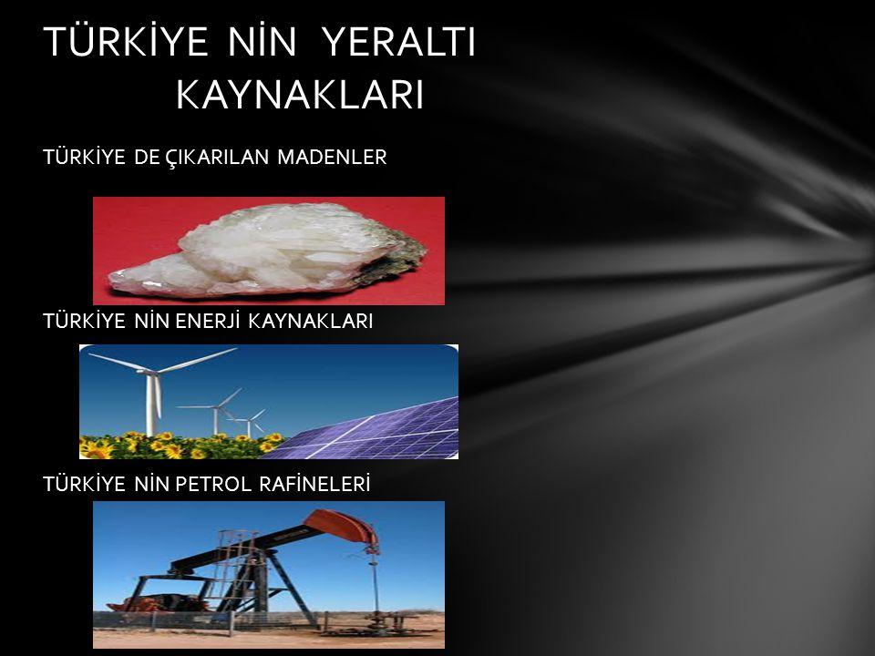 MADENCİLİK Türkiye de çok sayıda maden ve enerji kaynağı mevcuttur.