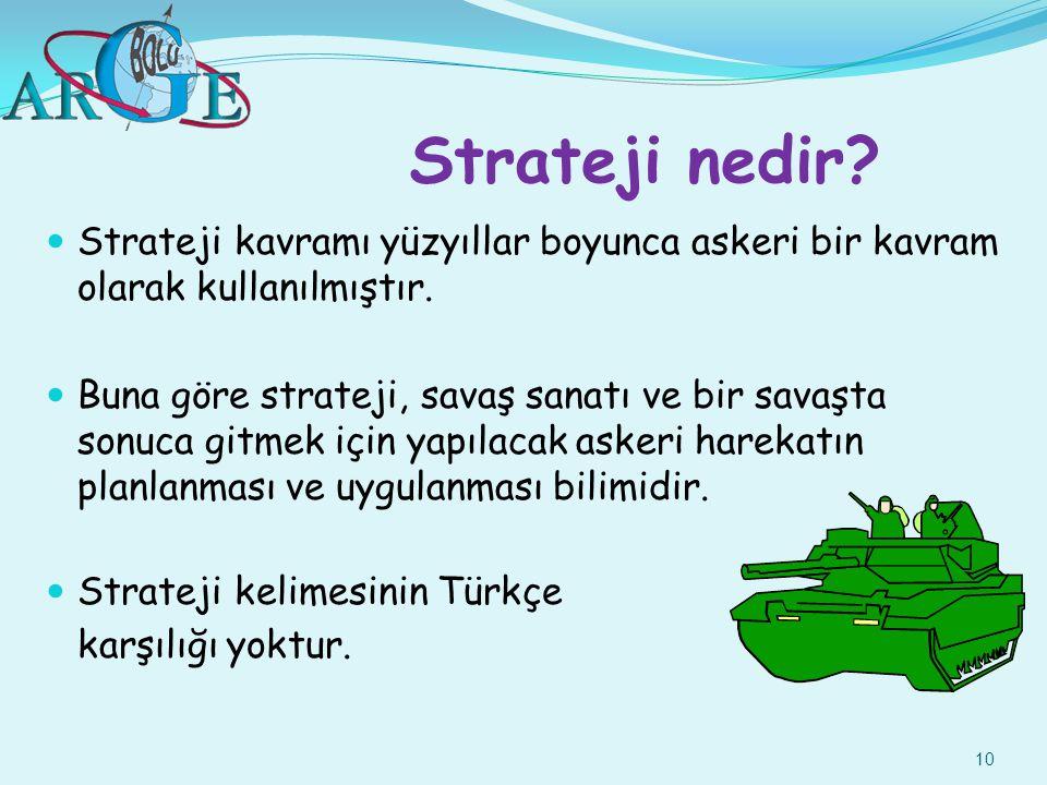 10 Strateji nedir? Strateji kavramı yüzyıllar boyunca askeri bir kavram olarak kullanılmıştır. Buna göre strateji, savaş sanatı ve bir savaşta sonuca
