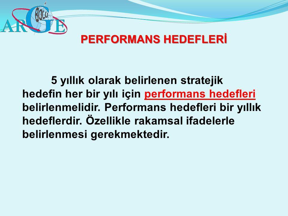 PERFORMANS HEDEFLERİ 5 yıllık olarak belirlenen stratejik hedefin her bir yılı için performans hedefleri belirlenmelidir. Performans hedefleri bir yıl