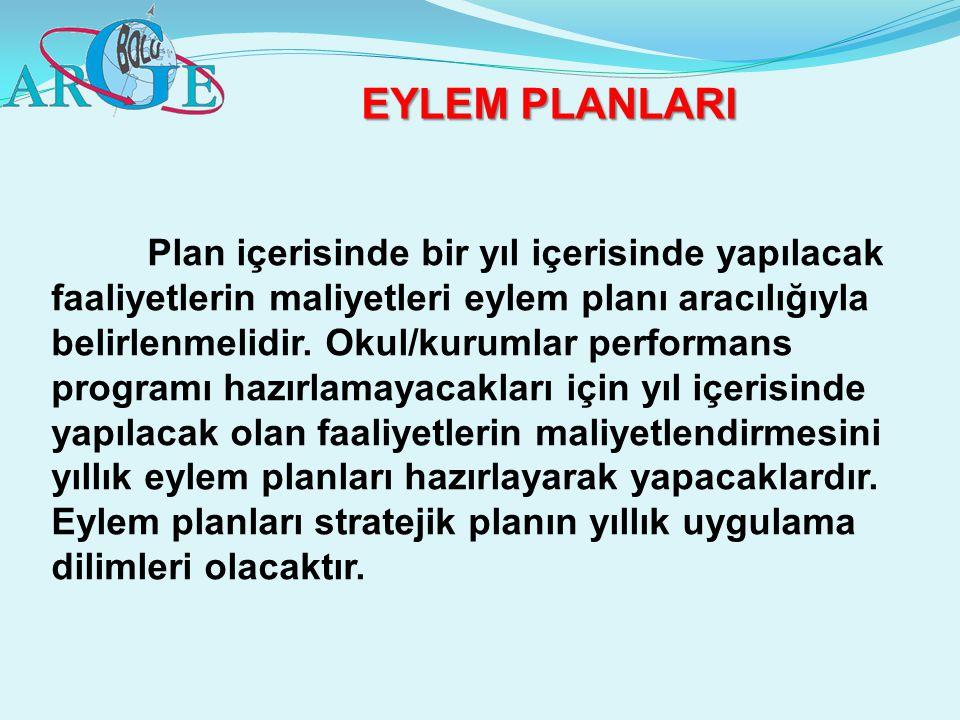EYLEM PLANLARI Plan içerisinde bir yıl içerisinde yapılacak faaliyetlerin maliyetleri eylem planı aracılığıyla belirlenmelidir. Okul/kurumlar performa