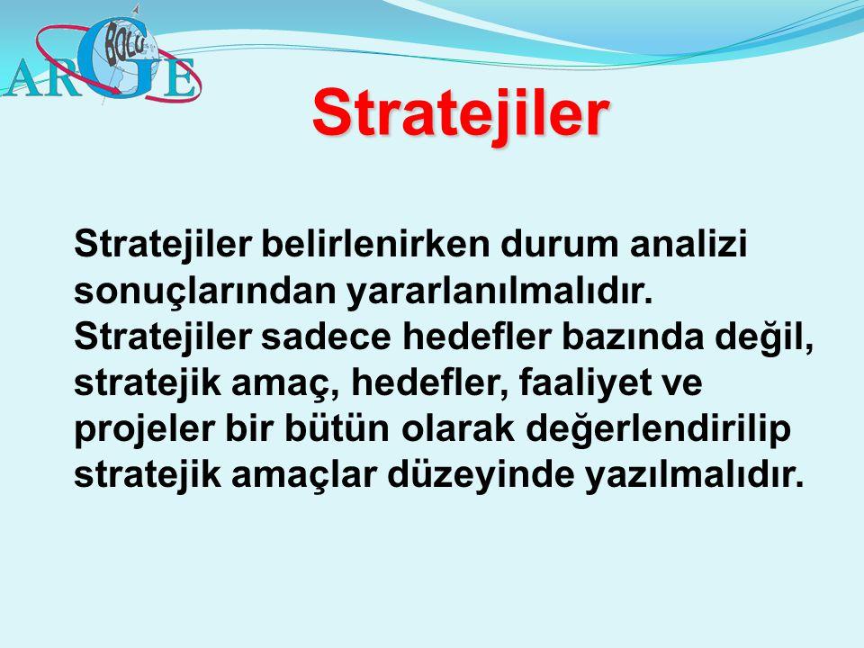 Stratejiler Stratejiler belirlenirken durum analizi sonuçlarından yararlanılmalıdır. Stratejiler sadece hedefler bazında değil, stratejik amaç, hedefl