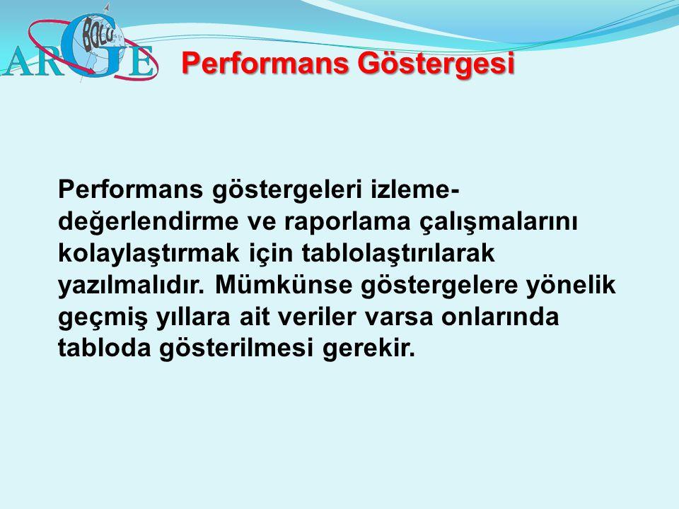 Performans Göstergesi Performans göstergeleri izleme- değerlendirme ve raporlama çalışmalarını kolaylaştırmak için tablolaştırılarak yazılmalıdır. Müm