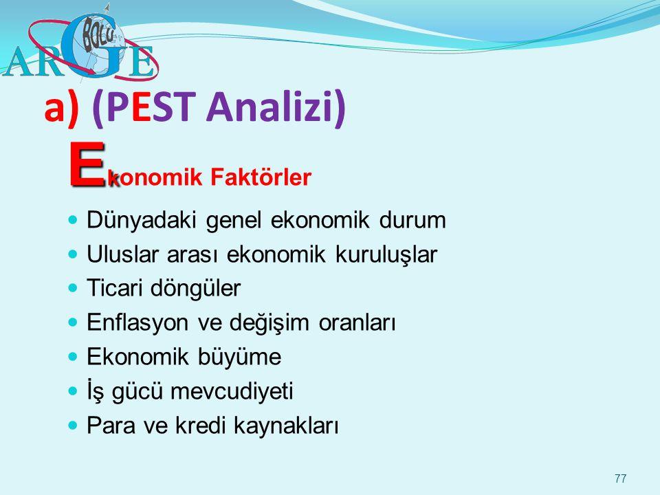 77 a) (PEST Analizi) E k E k onomik Faktörler Dünyadaki genel ekonomik durum Uluslar arası ekonomik kuruluşlar Ticari döngüler Enflasyon ve değişim or
