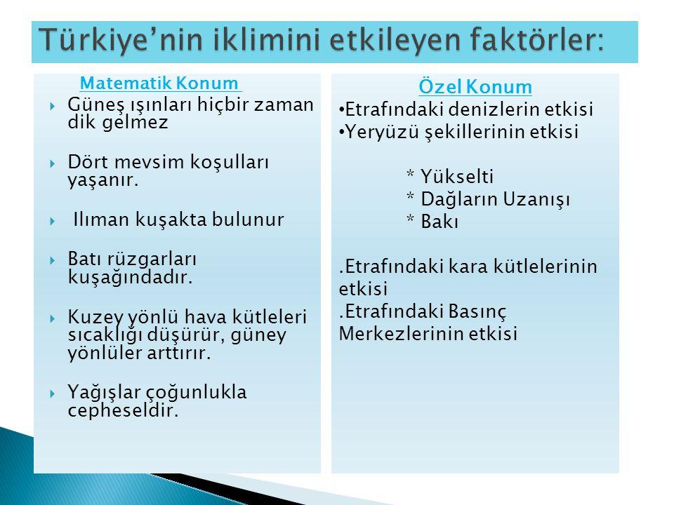 Türkiye'de sıcaklık: Sıcaklığı etkileyen faktörler: Enlem, Yükselti, Denizellik – Karasallık  İndirgenmiş sıcaklık yükseltinin 0 m kabul edilmesiyle bulunur.