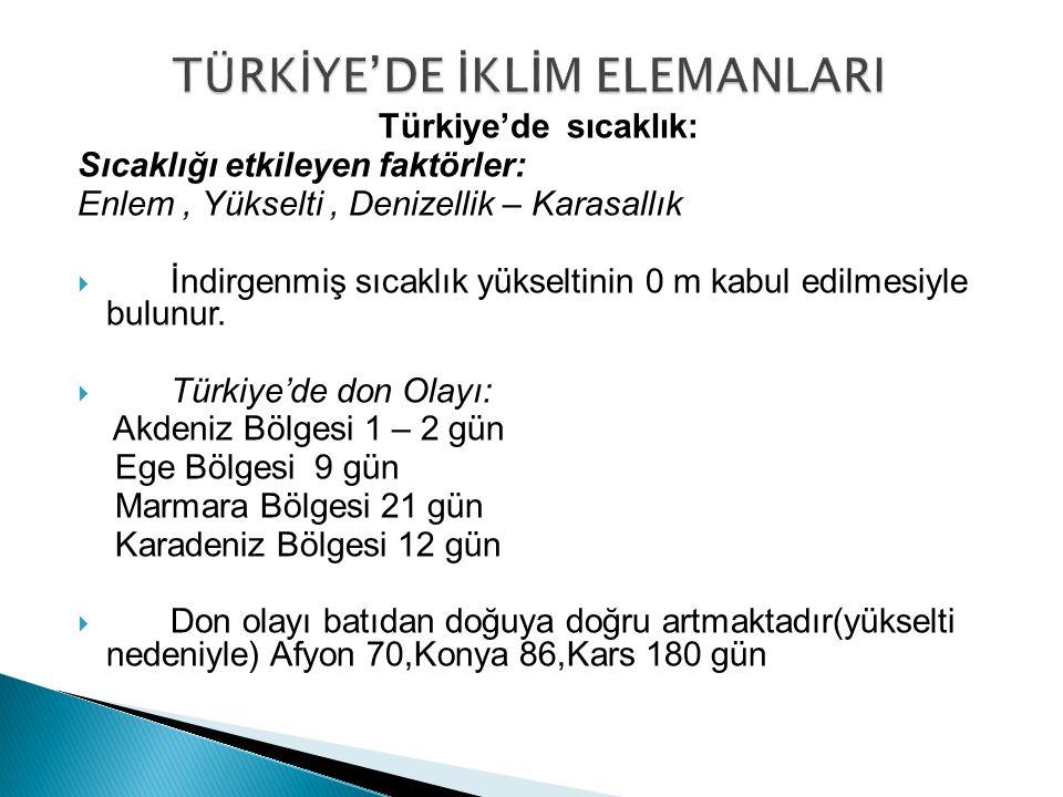 Türkiye'de sıcaklık: Sıcaklığı etkileyen faktörler: Enlem, Yükselti, Denizellik – Karasallık  İndirgenmiş sıcaklık yükseltinin 0 m kabul edilmesiyle