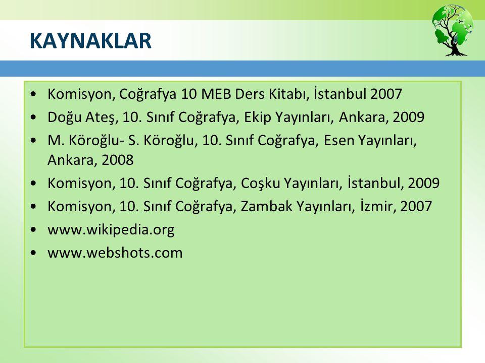 KAYNAKLAR Komisyon, Coğrafya 10 MEB Ders Kitabı, İstanbul 2007 Doğu Ateş, 10. Sınıf Coğrafya, Ekip Yayınları, Ankara, 2009 M. Köroğlu- S. Köroğlu, 10.