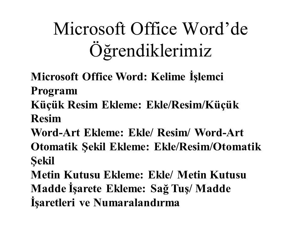 Microsoft Office Word'de Öğrendiklerimiz Microsoft Office Word: Kelime İşlemci Programı Küçük Resim Ekleme: Ekle/Resim/Küçük Resim Word-Art Ekleme: Ek