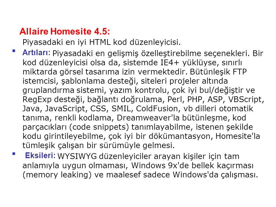 Allaire Homesite 4.5: Piyasadaki en iyi HTML kod düzenleyicisi. Artıları: Piyasadaki en gelişmiş özelleştirebilme seçenekleri. Bir kod düzenleyicisi o