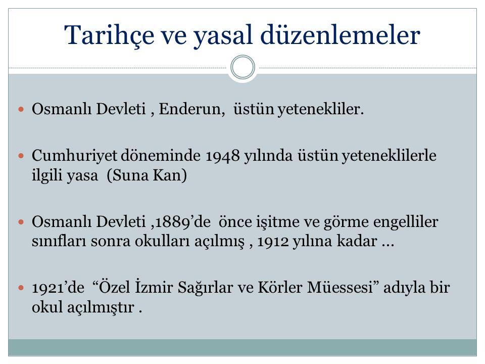 Tarihçe ve yasal düzenlemeler Osmanlı Devleti, Enderun, üstün yetenekliler. Cumhuriyet döneminde 1948 yılında üstün yeteneklilerle ilgili yasa (Suna K