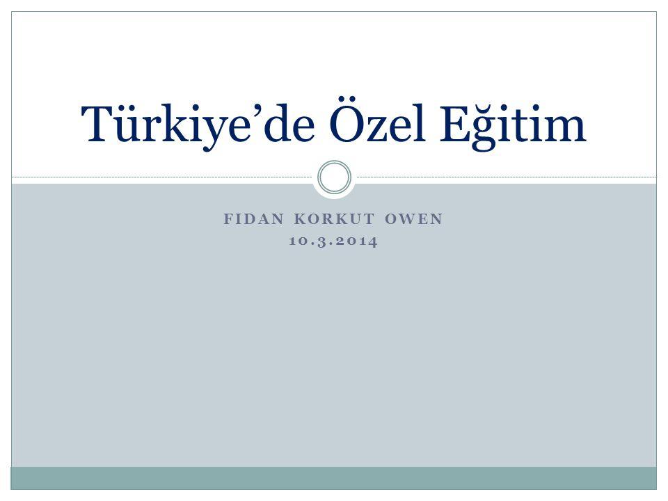 Türkiye'deki özel eğitimle ilgili istatistikler Tarihçe İlgili kurumlar