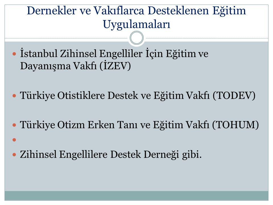 Dernekler ve Vakıflarca Desteklenen Eğitim Uygulamaları İstanbul Zihinsel Engelliler İçin Eğitim ve Dayanışma Vakfı (İZEV) Türkiye Otistiklere Destek
