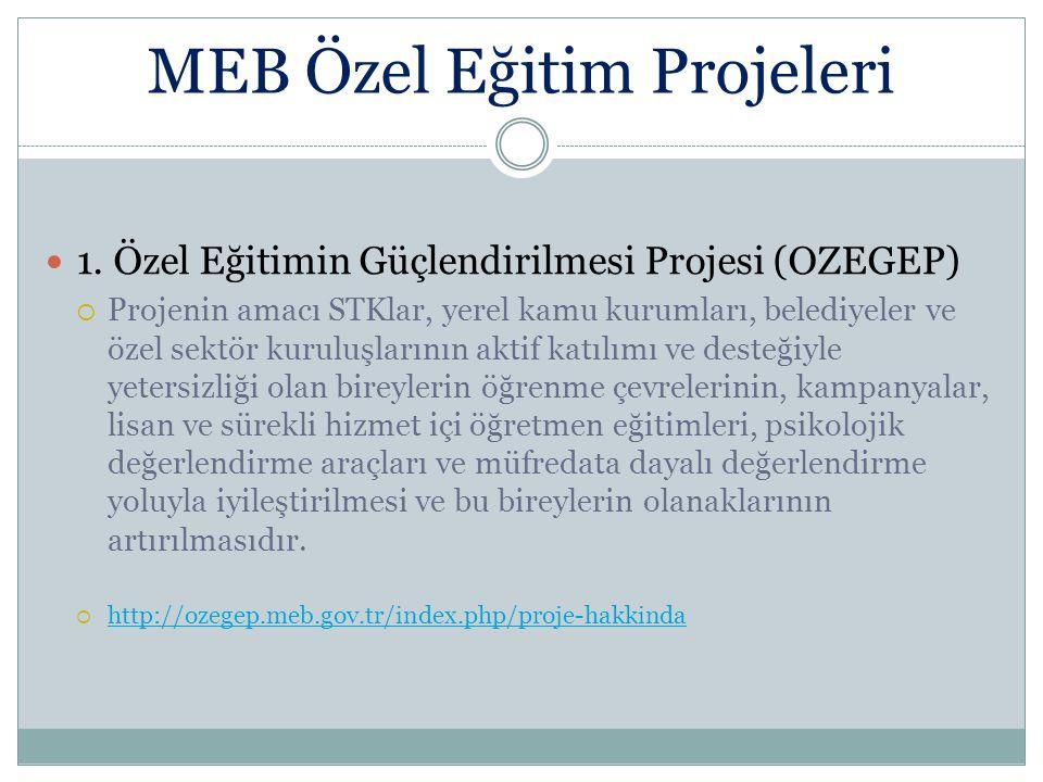MEB Özel Eğitim Projeleri 1. Özel Eğitimin Güçlendirilmesi Projesi (OZEGEP)  Projenin amacı STKlar, yerel kamu kurumları, belediyeler ve özel sektör