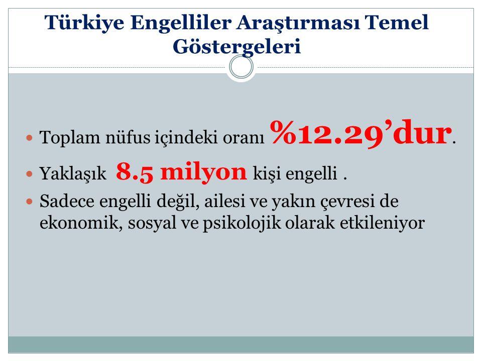 Türkiye Engelliler Araştırması Temel Göstergeleri Toplam nüfus içindeki oranı %12.29'dur. Yaklaşık 8.5 milyon kişi engelli. Sadece engelli değil, aile