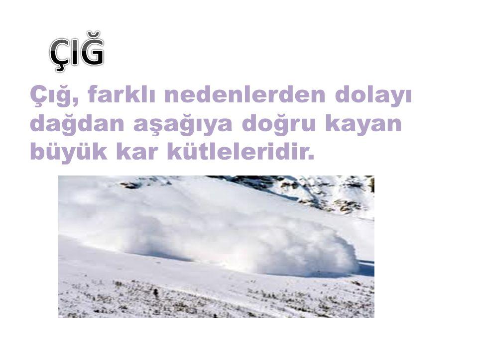 Çığ, farklı nedenlerden dolayı dağdan aşağıya doğru kayan büyük kar kütleleridir.