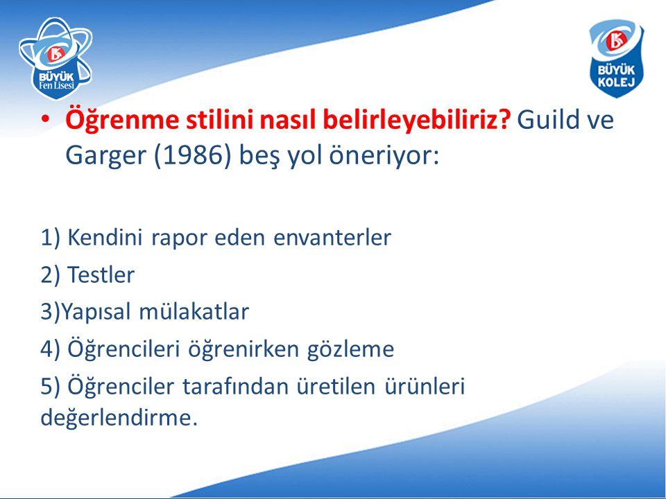 Öğrenme stilini nasıl belirleyebiliriz? Guild ve Garger (1986) beş yol öneriyor: 1) Kendini rapor eden envanterler 2) Testler 3)Yapısal mülakatlar 4)