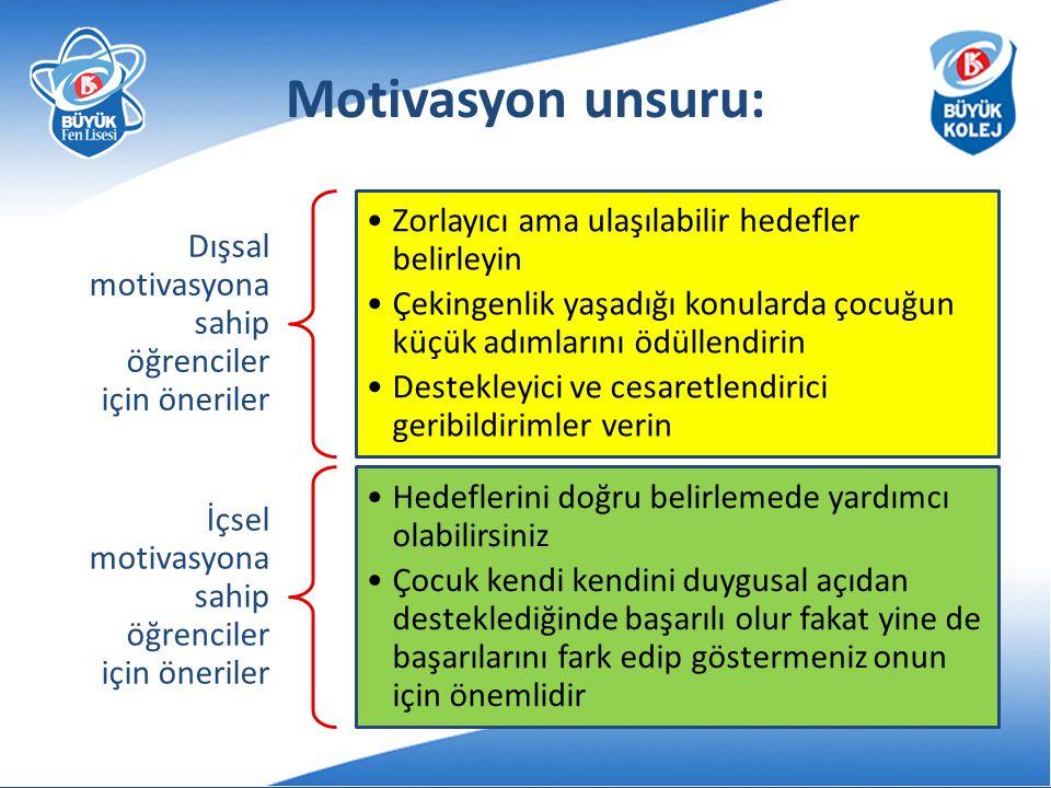 Motivasyon unsuru: Dışsal motivasyona sahip öğrenciler için öneriler Zorlayıcı ama ulaşılabilir hedefler belirleyin Çekingenlik yaşadığı konularda çoc