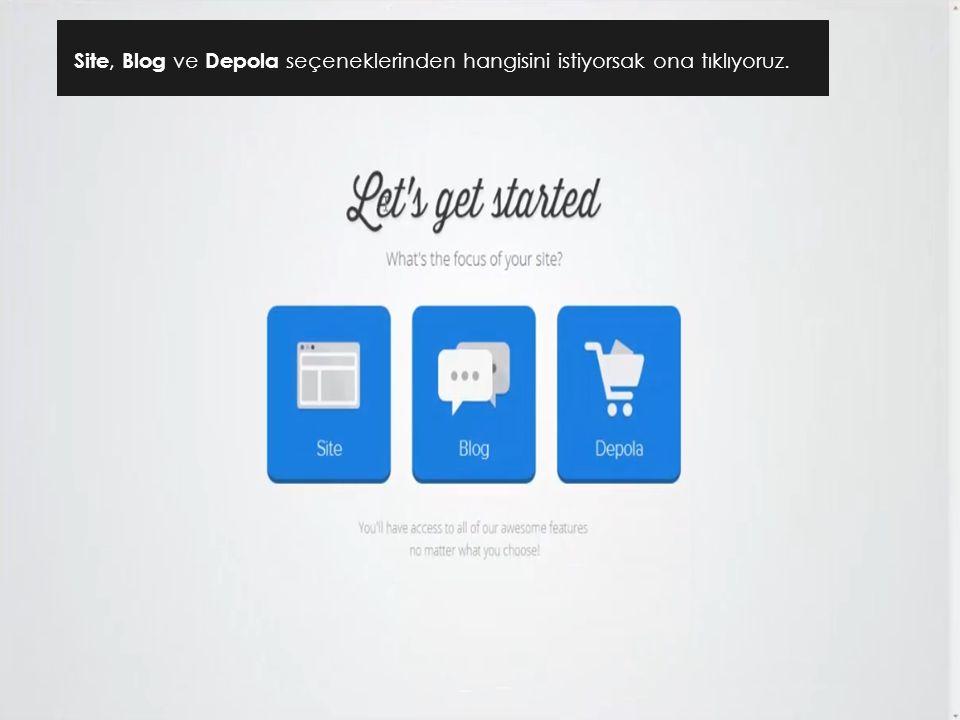 Site, Blog ve Depola seçeneklerinden hangisini istiyorsak ona tıklıyoruz.