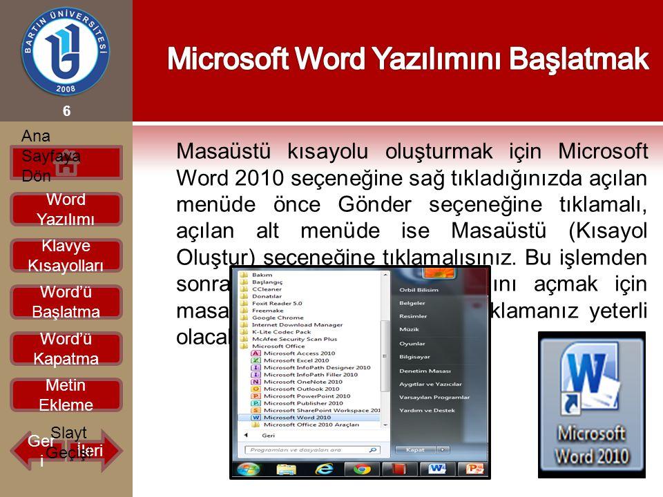 Masaüstü kısayolu oluşturmak için Microsoft Word 2010 seçeneğine sağ tıkladığınızda açılan menüde önce Gönder seçeneğine tıklamalı, açılan alt menüde