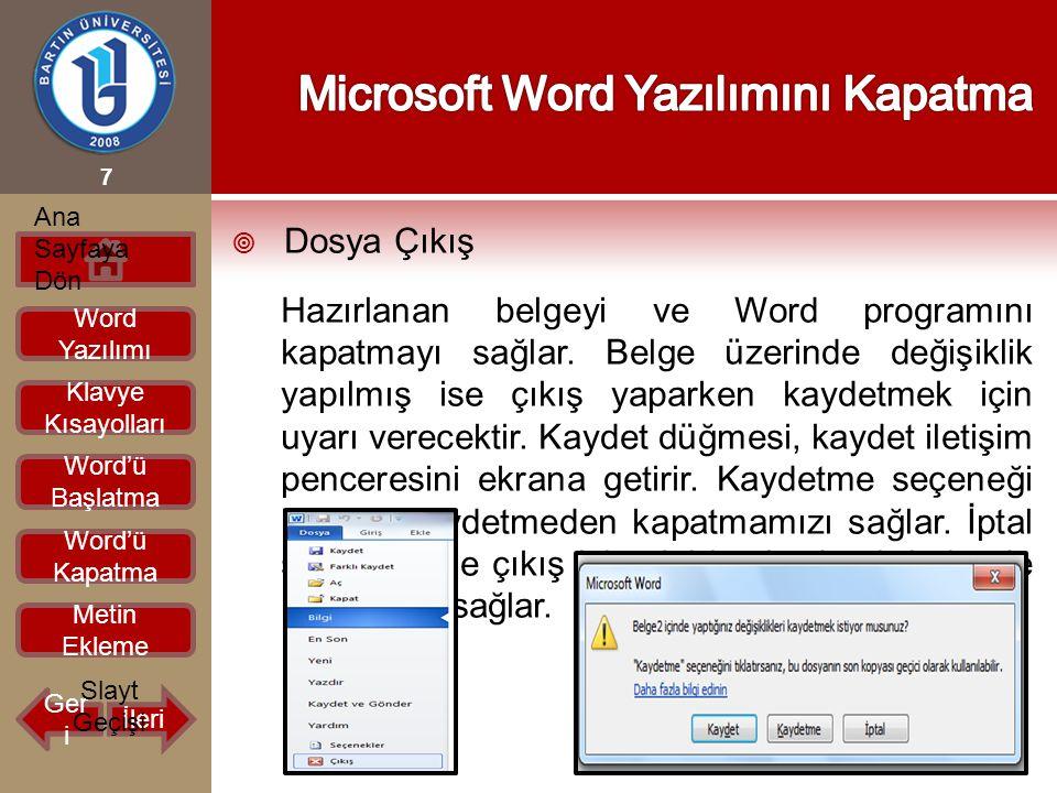  Dosya Çıkış Hazırlanan belgeyi ve Word programını kapatmayı sağlar. Belge üzerinde değişiklik yapılmış ise çıkış yaparken kaydetmek için uyarı verec
