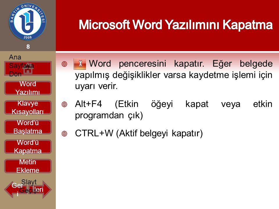  Word penceresini kapatır. Eğer belgede yapılmış değişiklikler varsa kaydetme işlemi için uyarı verir.  Alt+F4 (Etkin öğeyi kapat veya etkin program