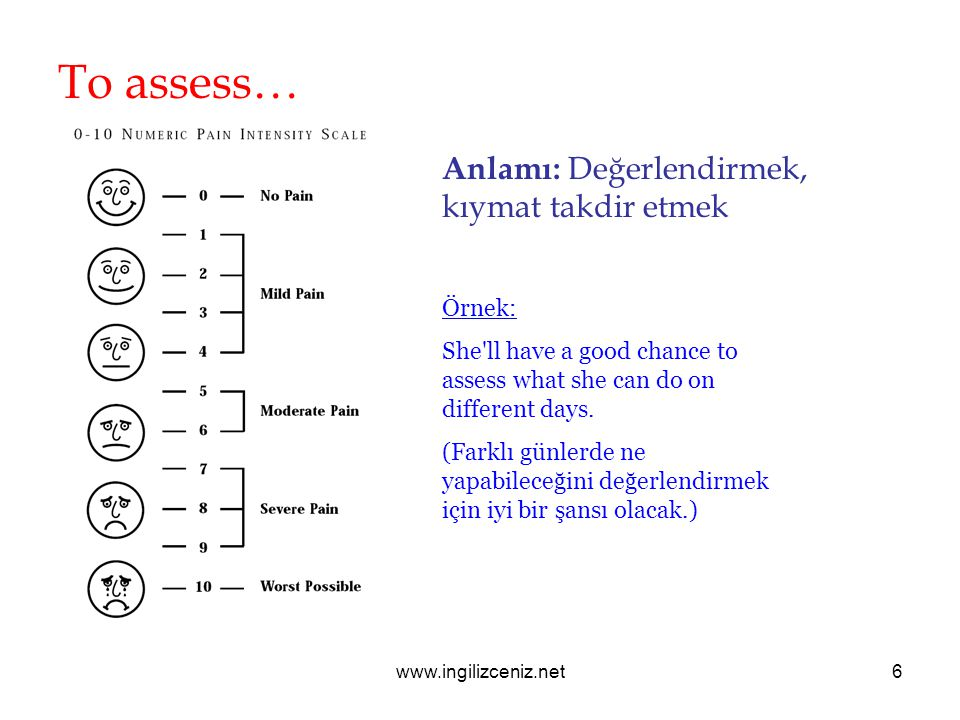 To assess… Anlamı: Değerlendirmek, kıymat takdir etmek Örnek: She ll have a good chance to assess what she can do on different days.