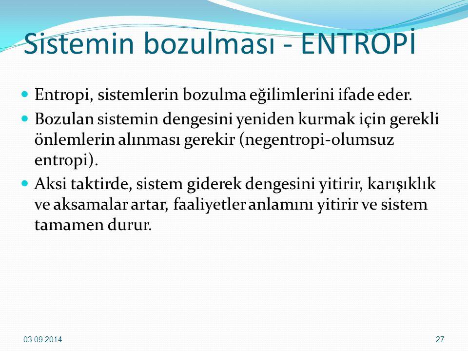 Sistemin bozulması - ENTROPİ Entropi, sistemlerin bozulma eğilimlerini ifade eder. Bozulan sistemin dengesini yeniden kurmak için gerekli önlemlerin a