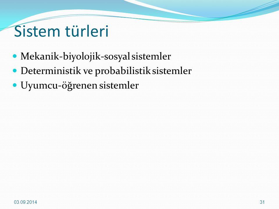 Sistem türleri Mekanik-biyolojik-sosyal sistemler Deterministik ve probabilistik sistemler Uyumcu-öğrenen sistemler 03.09.201431