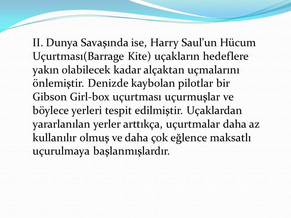 II. Dunya Savaşında ise, Harry Saul'un Hücum Uçurtması(Barrage Kite) uçakların hedeflere yakın olabilecek kadar alçaktan uçmalarını önlemiştir. Denizd