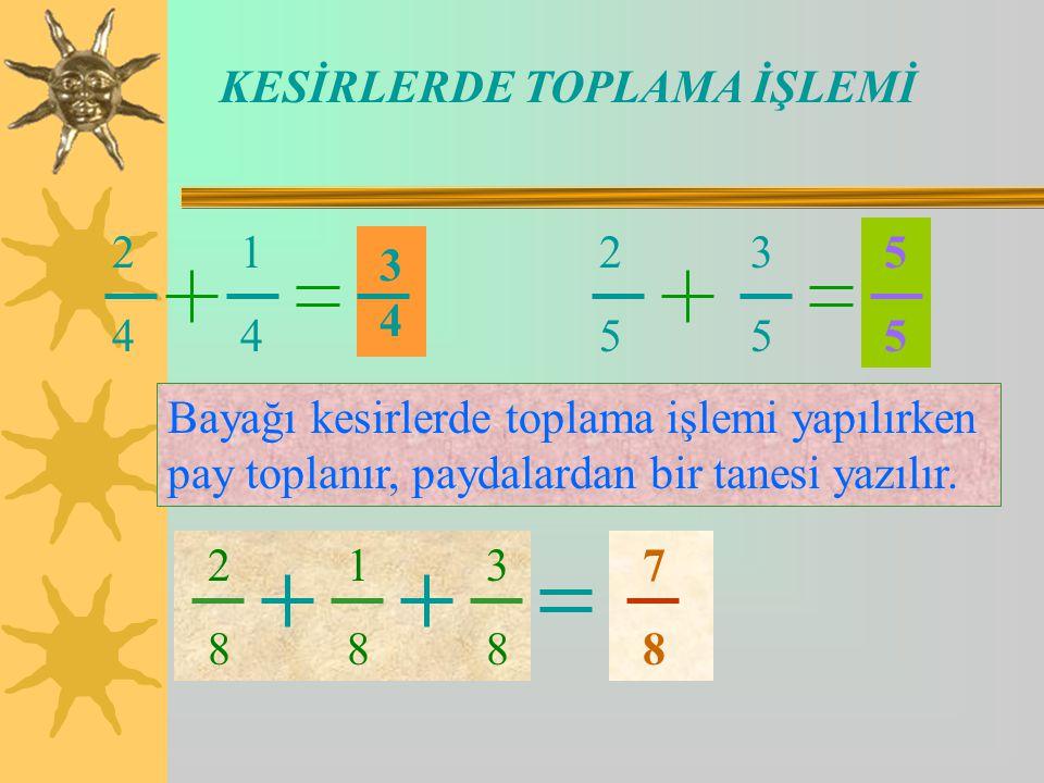 KESİRLERDE TOPLAMA İŞLEMİ 2 1 4 4 3434 2 3 5 5 5 Bayağı kesirlerde toplama işlemi yapılırken pay toplanır, paydalardan bir tanesi yazılır.