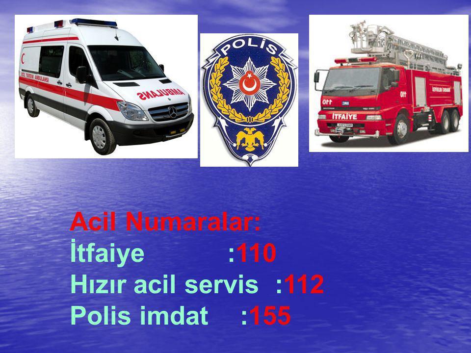 Acil Numaralar: İtfaiye :110 Hızır acil servis :112 Polis imdat :155