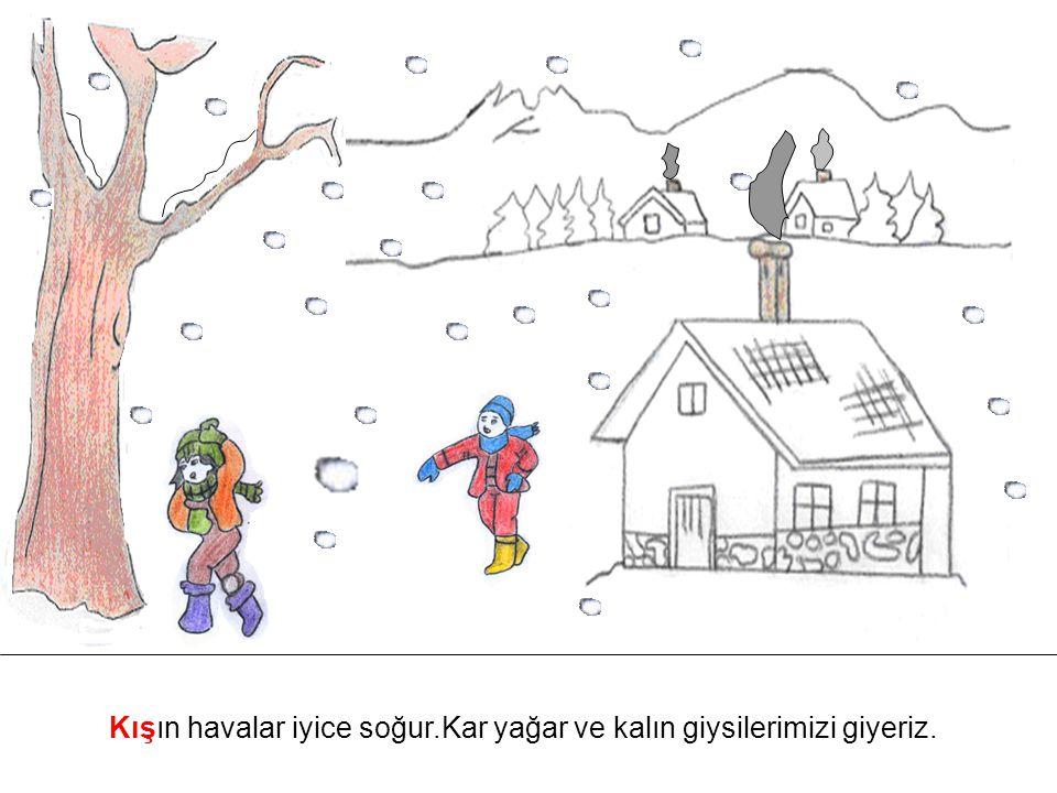 Kışın havalar iyice soğur.Kar yağar ve kalın giysilerimizi giyeriz.