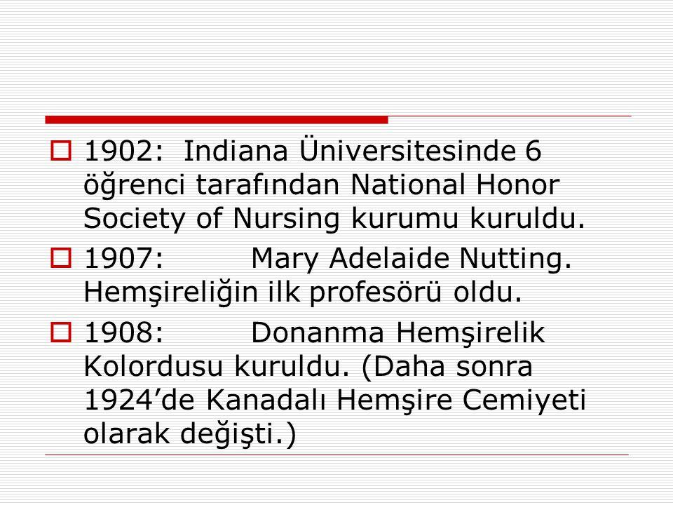  1902:Indiana Üniversitesinde 6 öğrenci tarafından National Honor Society of Nursing kurumu kuruldu.  1907:Mary Adelaide Nutting. Hemşireliğin ilk p