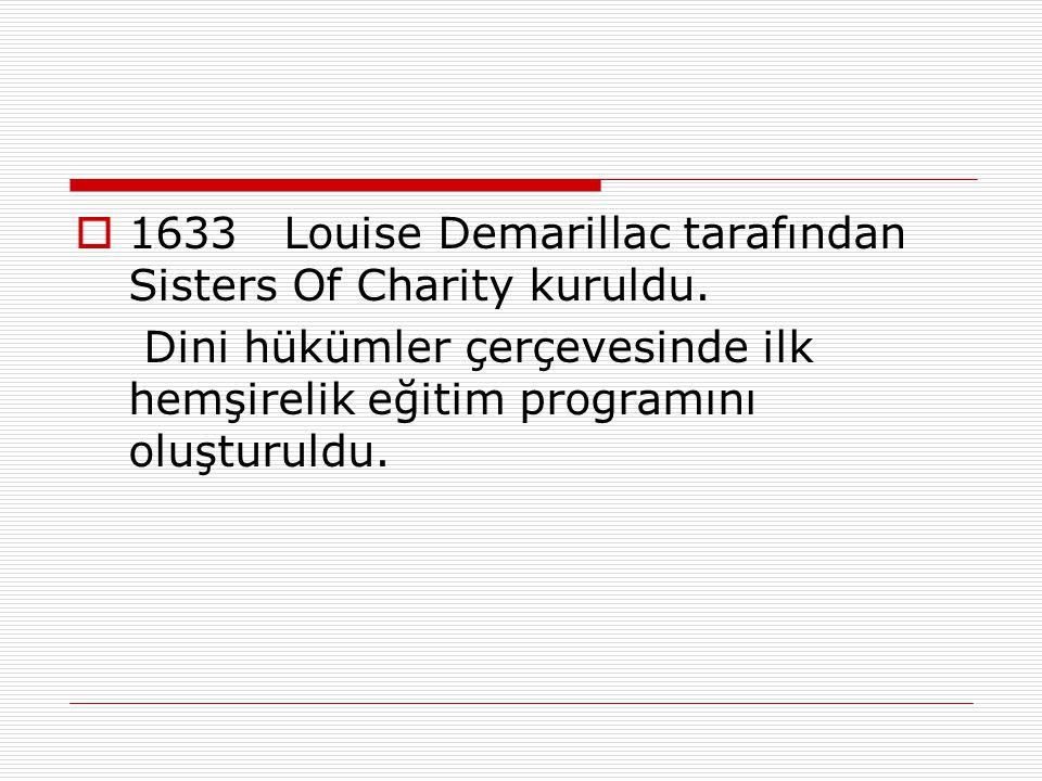  1633Louise Demarillac tarafından Sisters Of Charity kuruldu. Dini hükümler çerçevesinde ilk hemşirelik eğitim programını oluşturuldu.