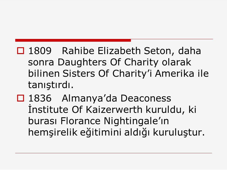  1809 Rahibe Elizabeth Seton, daha sonra Daughters Of Charity olarak bilinen Sisters Of Charity'i Amerika ile tanıştırdı.  1836 Almanya'da Deaconess