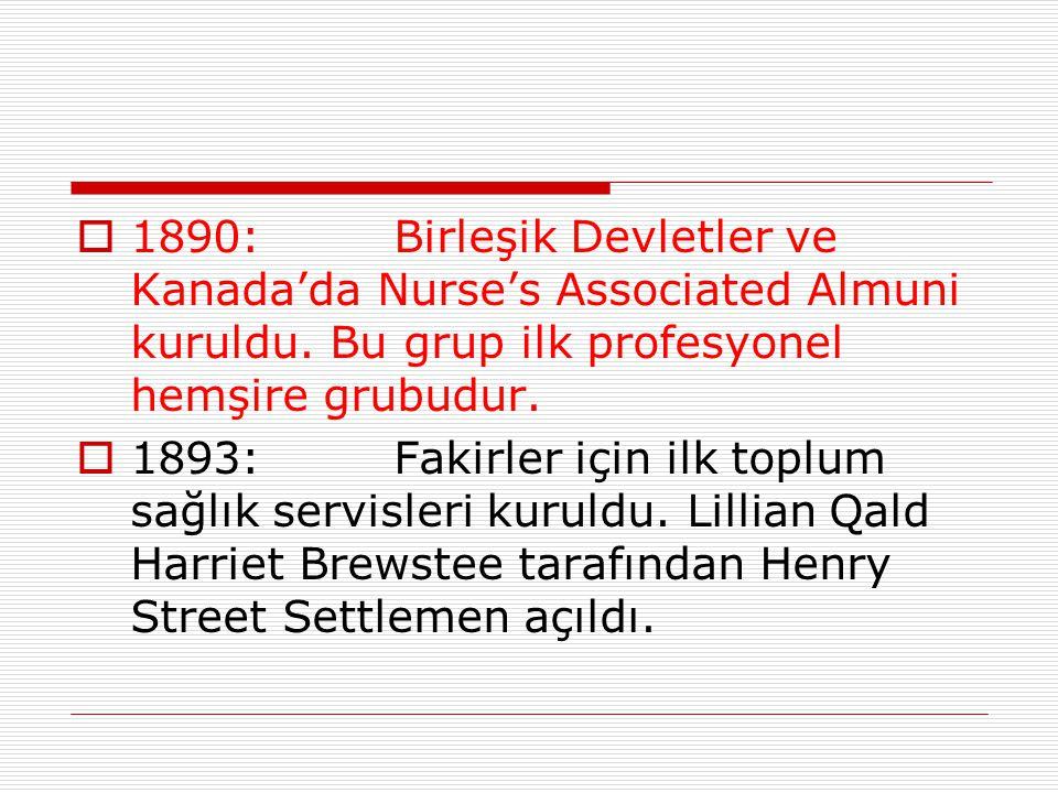  1890: Birleşik Devletler ve Kanada'da Nurse's Associated Almuni kuruldu. Bu grup ilk profesyonel hemşire grubudur.  1893:Fakirler için ilk toplum s