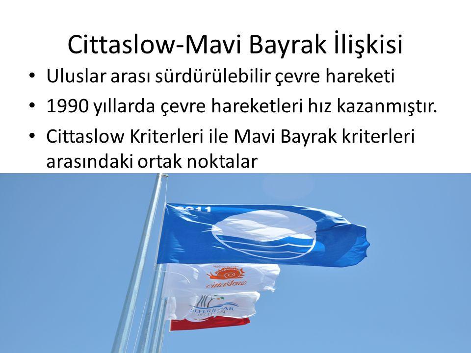 Cittaslow-Mavi Bayrak İlişkisi Uluslar arası sürdürülebilir çevre hareketi 1990 yıllarda çevre hareketleri hız kazanmıştır. Cittaslow Kriterleri ile M