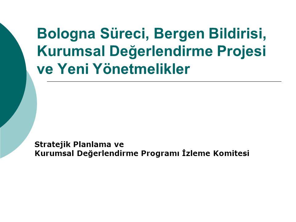 Bologna Süreci, Bergen Bildirisi, Kurumsal Değerlendirme Projesi ve Yeni Yönetmelikler Stratejik Planlama ve Kurumsal Değerlendirme Programı İzleme Ko