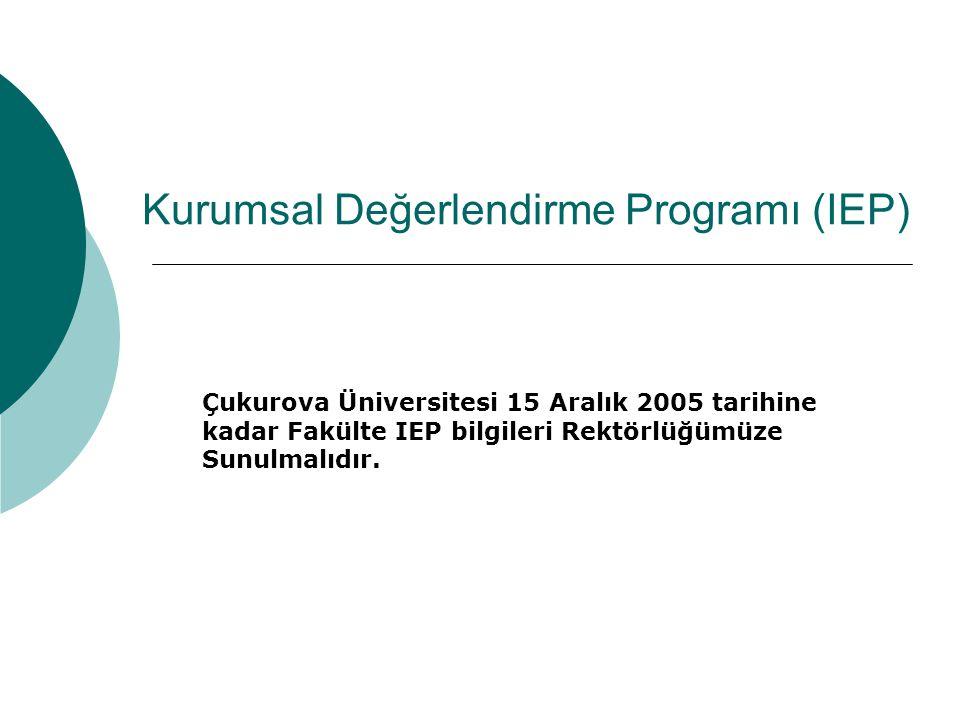 Kurumsal Değerlendirme Programı (IEP) Çukurova Üniversitesi 15 Aralık 2005 tarihine kadar Fakülte IEP bilgileri Rektörlüğümüze Sunulmalıdır.
