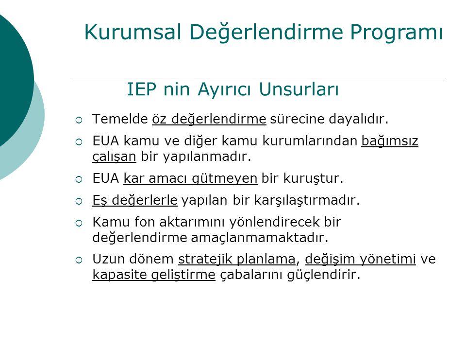 Kurumsal Değerlendirme Programı IEP nin Ayırıcı Unsurları  Temelde öz değerlendirme sürecine dayalıdır.  EUA kamu ve diğer kamu kurumlarından bağıms