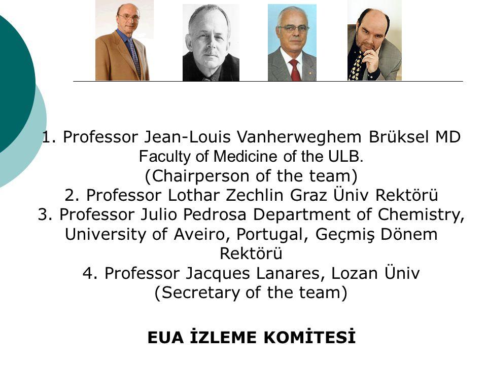 1. Professor Jean-Louis Vanherweghem Brüksel MD Faculty of Medicine of the ULB. (Chairperson of the team) 2. Professor Lothar Zechlin Graz Üniv Rektör