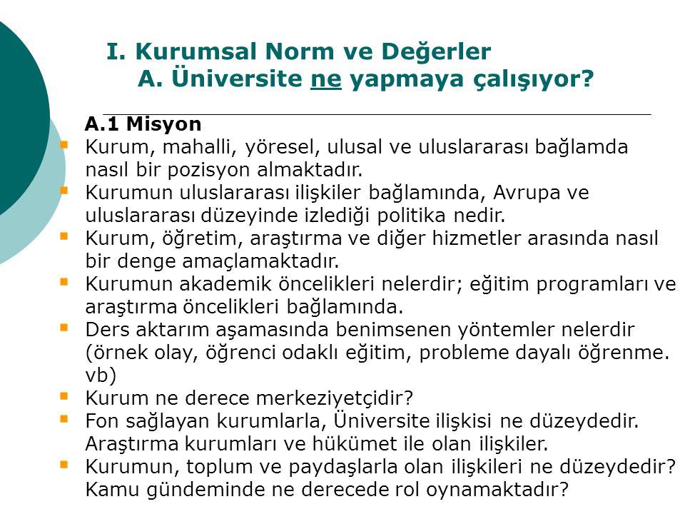 I. Kurumsal Norm ve Değerler A. Üniversite ne yapmaya çalışıyor? A.1 Misyon  Kurum, mahalli, yöresel, ulusal ve uluslararası bağlamda nasıl bir pozis