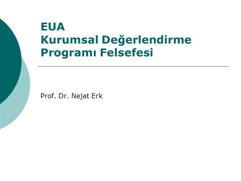 EUA Kurumsal Değerlendirme Programı Felsefesi Prof. Dr. Nejat Erk