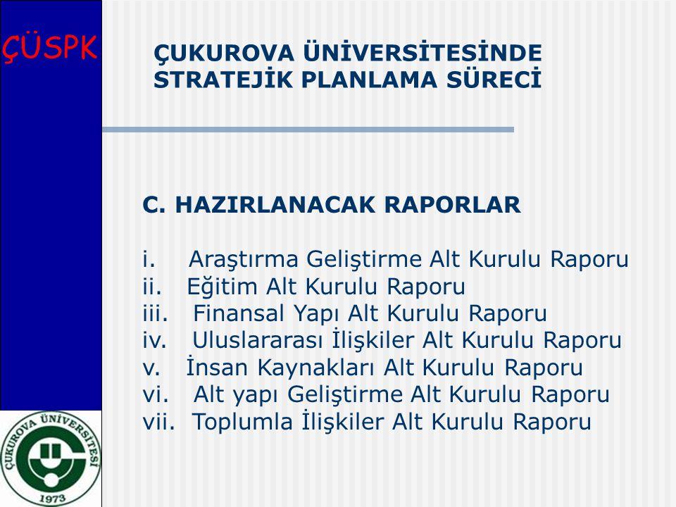 ÇÜSPK C. HAZIRLANACAK RAPORLAR i. Araştırma Geliştirme Alt Kurulu Raporu ii. Eğitim Alt Kurulu Raporu iii. Finansal Yapı Alt Kurulu Raporu iv. Uluslar