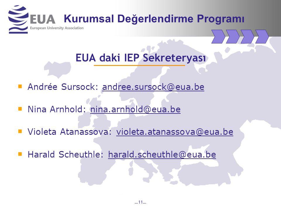 …11… EUA daki IEP Sekreteryası Andrée Sursock: andree.sursock@eua.be Nina Arnhold: nina.arnhold@eua.be Violeta Atanassova: violeta.atanassova@eua.be Harald Scheuthle: harald.scheuthle@eua.be Kurumsal Değerlendirme Programı