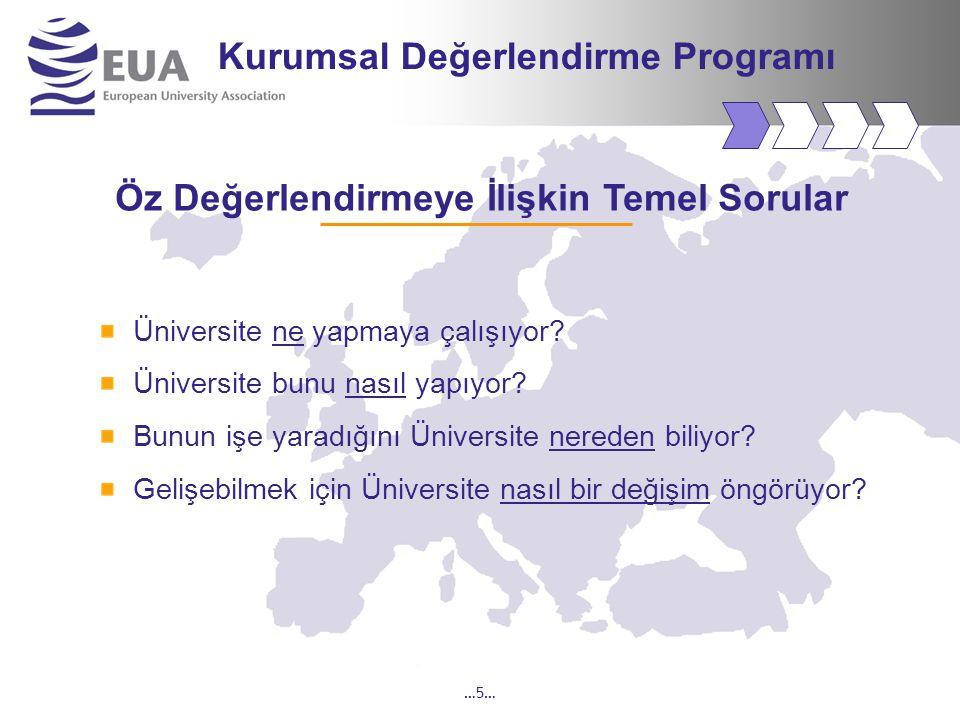 …5… Kurumsal Değerlendirme Programı Öz Değerlendirmeye İlişkin Temel Sorular Üniversite ne yapmaya çalışıyor.
