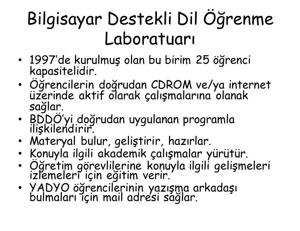 Bilgisayar Destekli Dil Öğrenme Laboratuarı 1997'de kurulmuş olan bu birim 25 öğrenci kapasitelidir.