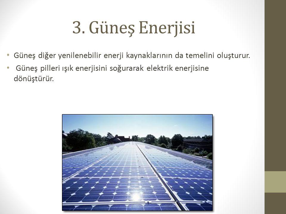 3. Güneş Enerjisi Güneş diğer yenilenebilir enerji kaynaklarının da temelini oluşturur. Güneş pilleri ışık enerjisini soğurarak elektrik enerjisine dö