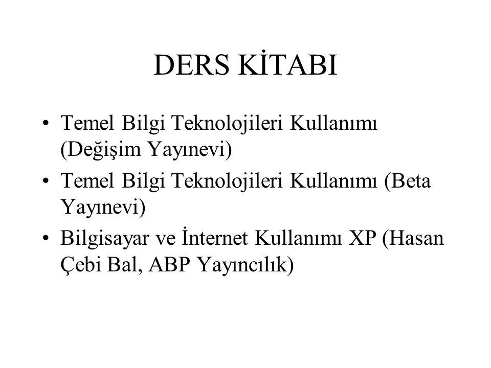 DERS KİTABI Temel Bilgi Teknolojileri Kullanımı (Değişim Yayınevi) Temel Bilgi Teknolojileri Kullanımı (Beta Yayınevi) Bilgisayar ve İnternet Kullanımı XP (Hasan Çebi Bal, ABP Yayıncılık)