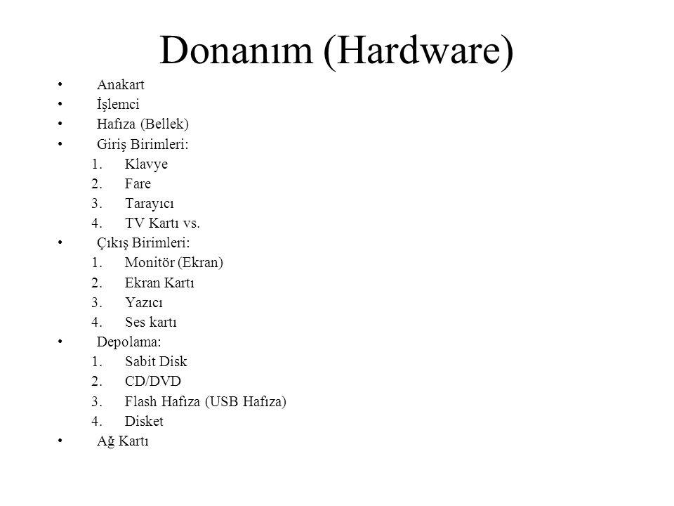 Donanım (Hardware) Anakart İşlemci Hafıza (Bellek) Giriş Birimleri: 1.Klavye 2.Fare 3.Tarayıcı 4.TV Kartı vs.