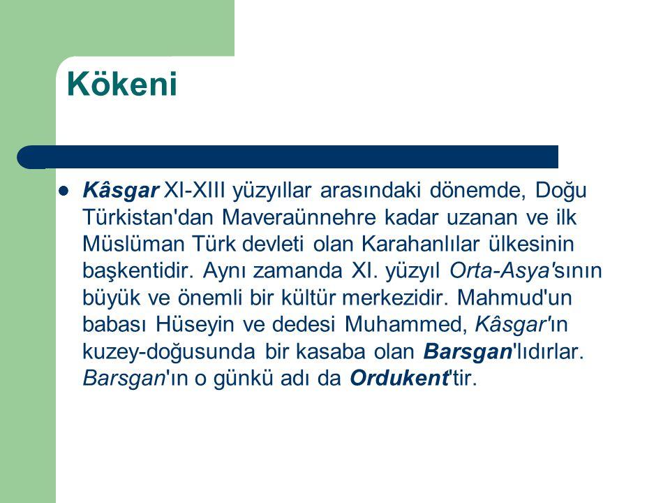 Kökeni Kâsgar XI-XIII yüzyıllar arasındaki dönemde, Doğu Türkistan'dan Maveraünnehre kadar uzanan ve ilk Müslüman Türk devleti olan Karahanlılar ülkes
